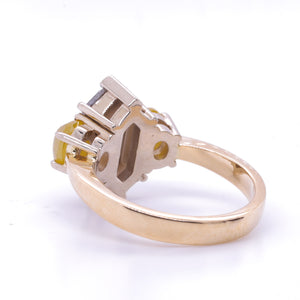 9ct Gold Hex/Rose Cut Salt And Pepper Diamond  =1.65Ct  2 Oval Yellow Rose Cut Diamonds = 1.57