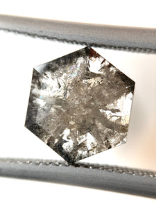 2.34ct Rose Cut Hex Salt and Pepper Diamond