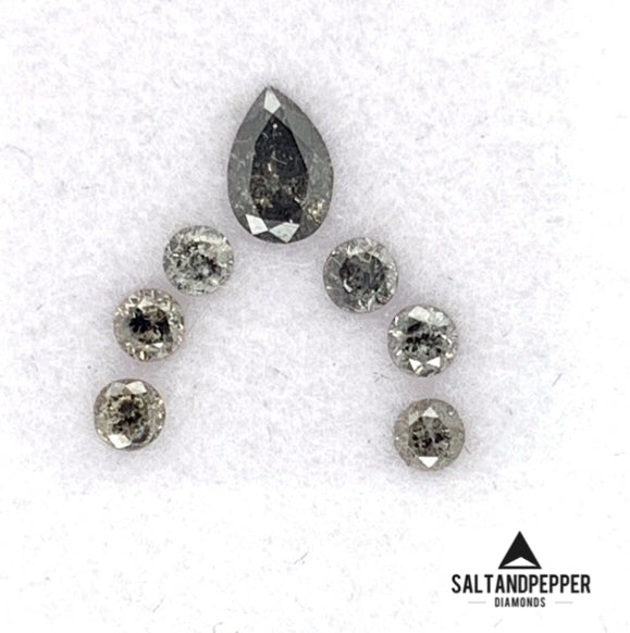.36ct TW Pear and Round Eternity Set Salt and Pepper Diamonds