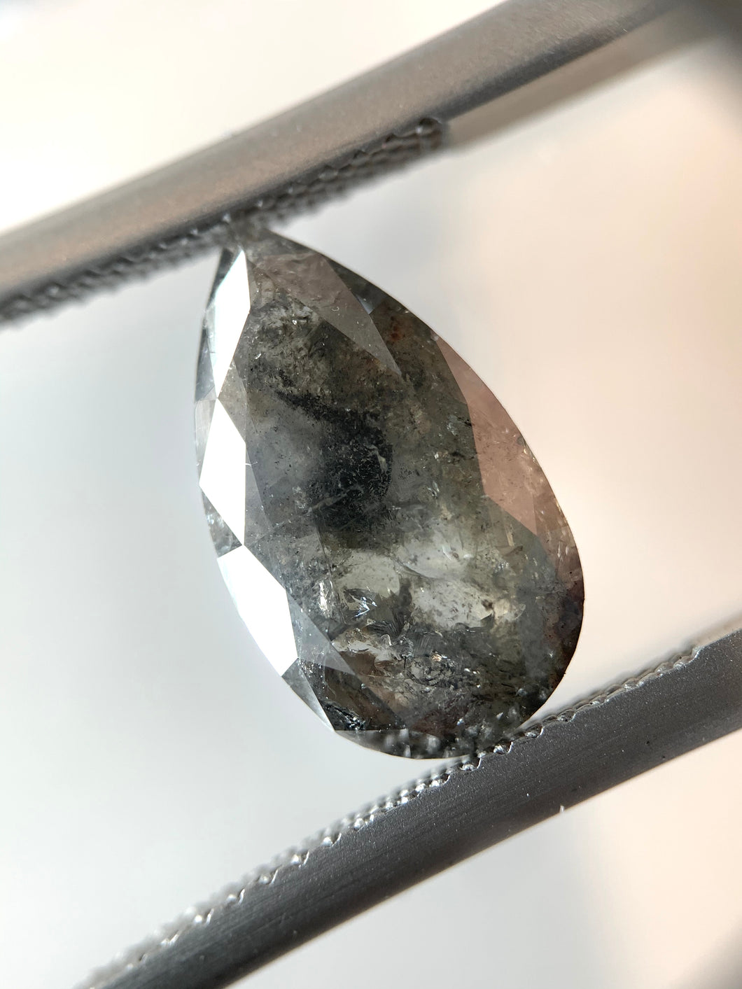 3.57ct Pear Cut Dark Grey Salt and Pepper Diamond