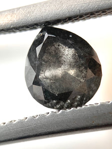 1.04ct Dark Grey Pear Cut Salt and Pepper Diamond