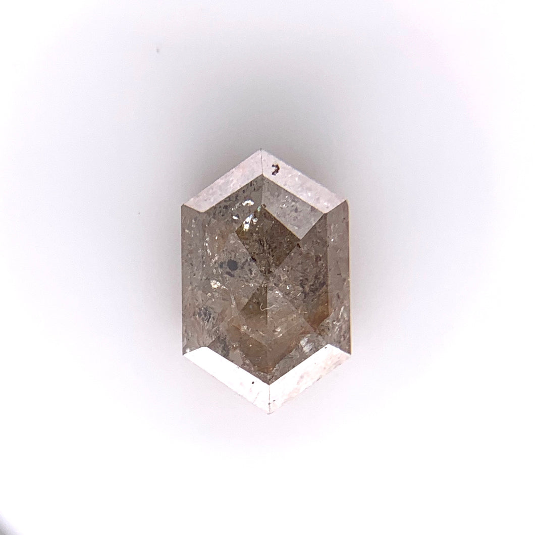1.16ct Hex/Rose Cut Brownish Salt and Pepper Diamond