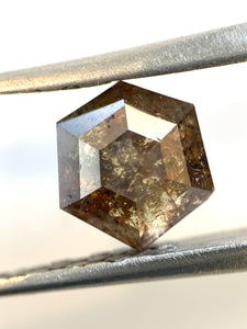 2.37ct Hex Cut Brownish Salt and Pepper Diamond