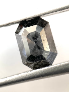 1.38ct Natural Black Emerald Cut Salt and Pepper Diamond