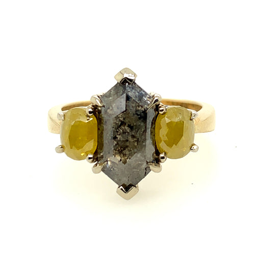 Hex and oval Yellow Salt and Pepper Diamond Ring