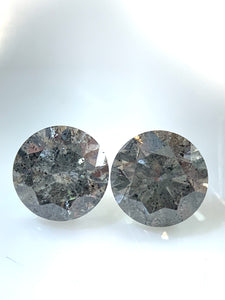 2=.71ct Matching Pair Round Brilliant Cut Salt and Pepper Diamonds