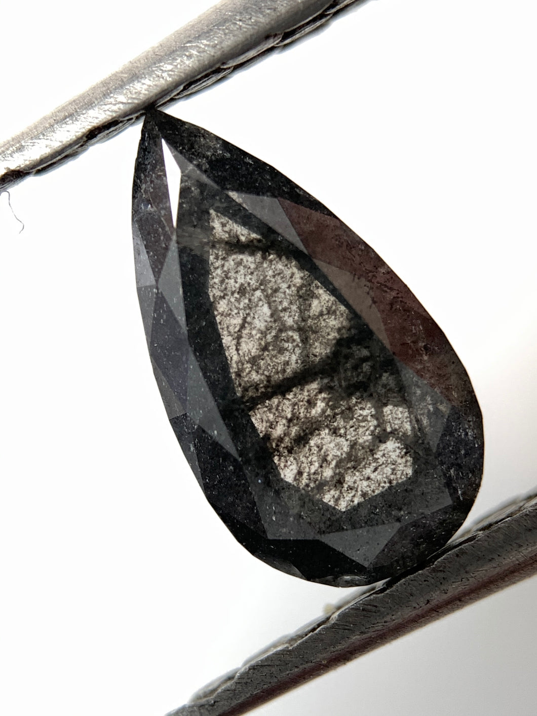 .93ct Pear Cut Natural Black Salt and Pepper Diamond