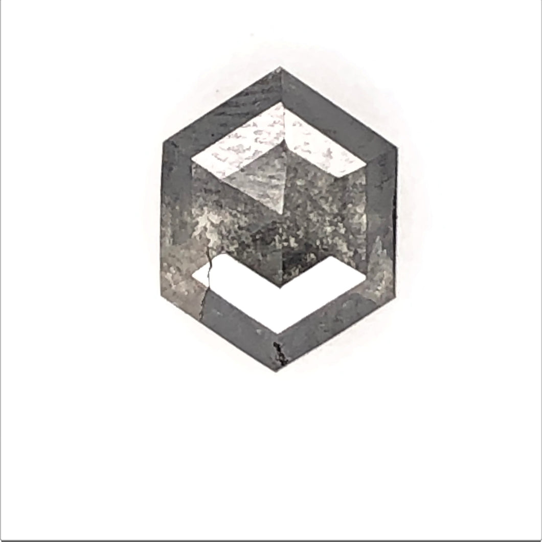 1.3ct Hex Cut Salt and Pepper Diamond