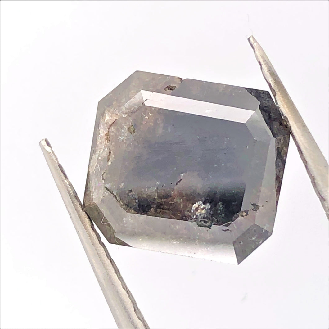 5.69ct Emerald Cut  Salt and Pepper Diamond