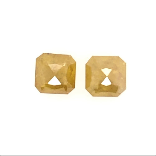 2=1.4ct Ascher/rose Cut Pair Salt and Pepper Diamond Fancy Yellow