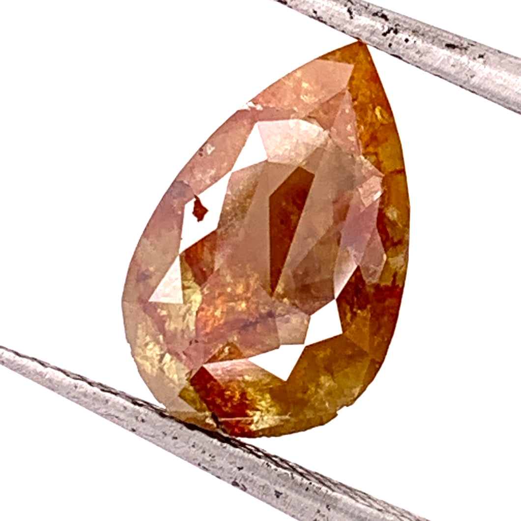3.10ct Rose Cut Pear Salt and Pepper Diamond Fancy Orange
