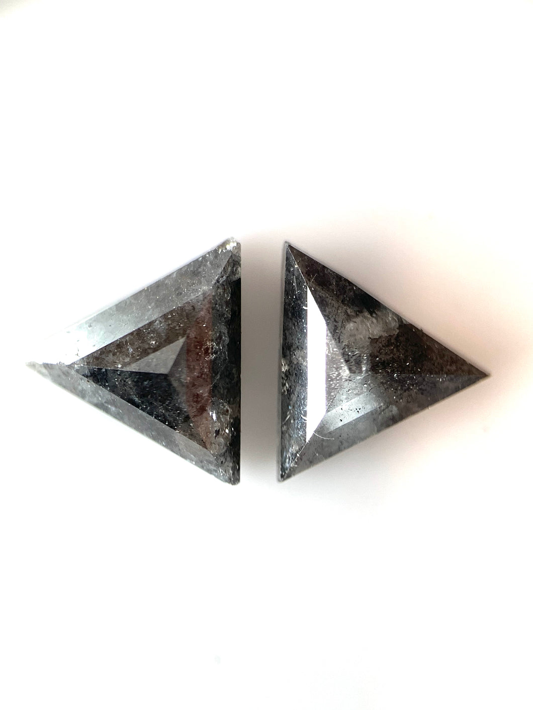 2=.95ct Triangle Cut Salt and Pepper Diamonds