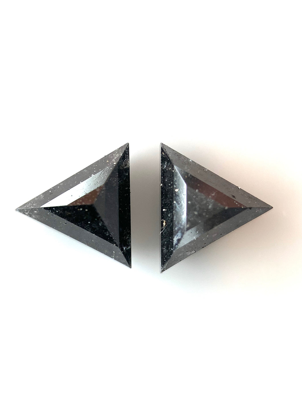 2=.99ct Triangle Cut Natural Black Salt and Pepper Diamonds