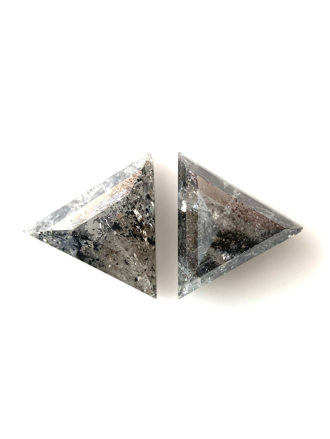 2=.77ct Triangle Cut Salt and Pepper Diamonds