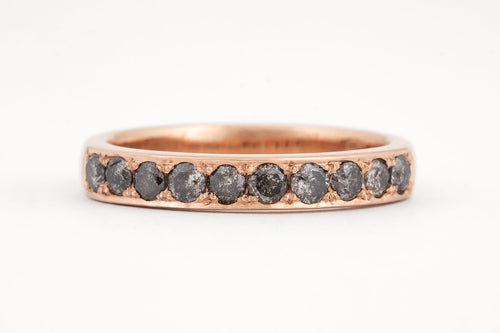 18ct Rose Gold Handmade Salt and Pepper Diamond band