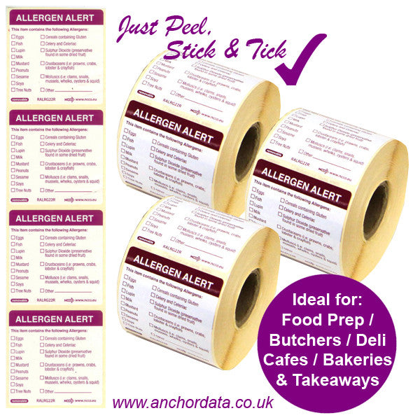 Food Allergen Peelable Labels - Stick & Tick - Belfast, Northern Ireland
