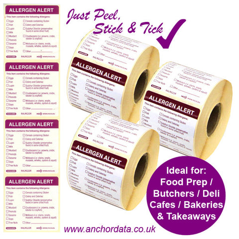 Food Allergen Peelable Labels (Stick & Tick)