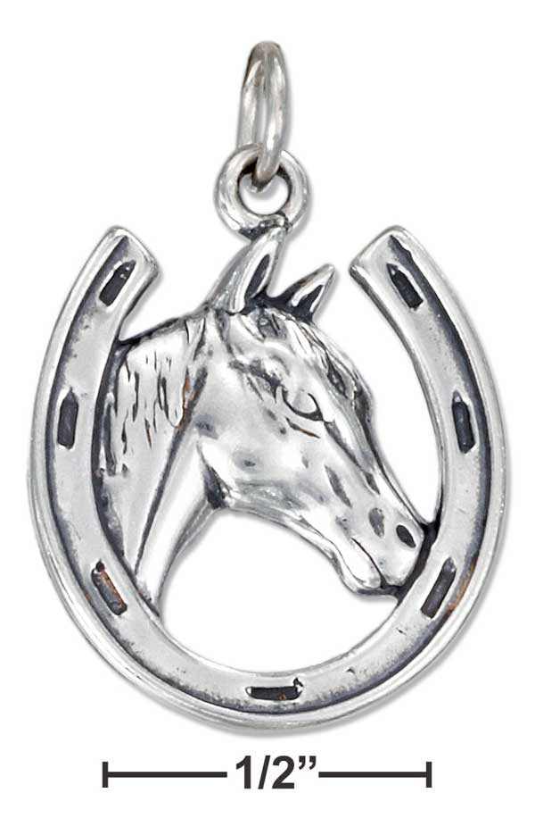 Sterling Silver Horse & Horseshoe Charm