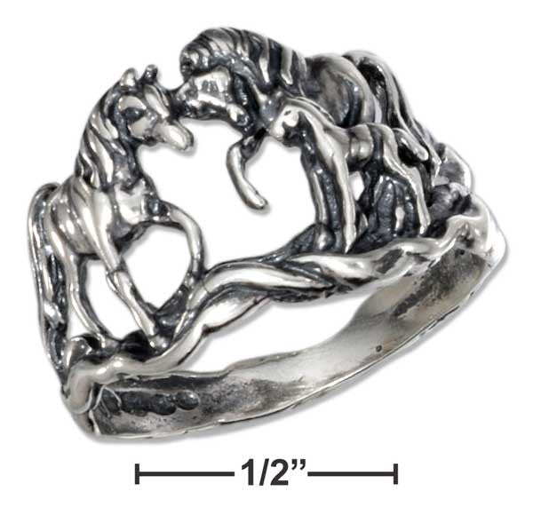 Sterling Silver Antiqued Horse Ring
