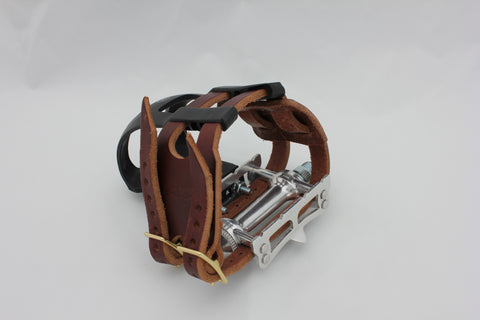 Brown double toe clip straps (pedals and clips not included)