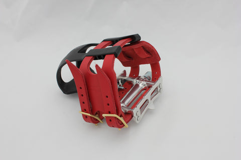 Red double toe clip straps (pedals and clips not included)