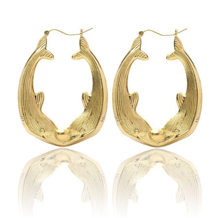 **NEW ARRIVAL** Gold Dolphin Hoops (For Toddlers - Teens)