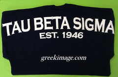 **Spirit Football Jersey Tau Beta Sigma - Deep Indigo (Navy) with White writing and Crest on front