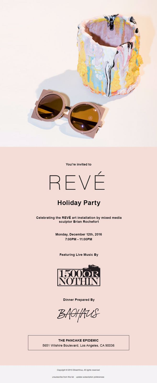 Reve holiday dinner performance collaboration with Pancake Epidemic and Brian Rochefort.