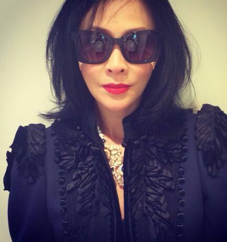 Actress Carina Lau 劉嘉玲 wears REVE by RENE Sweet suck sunglasses