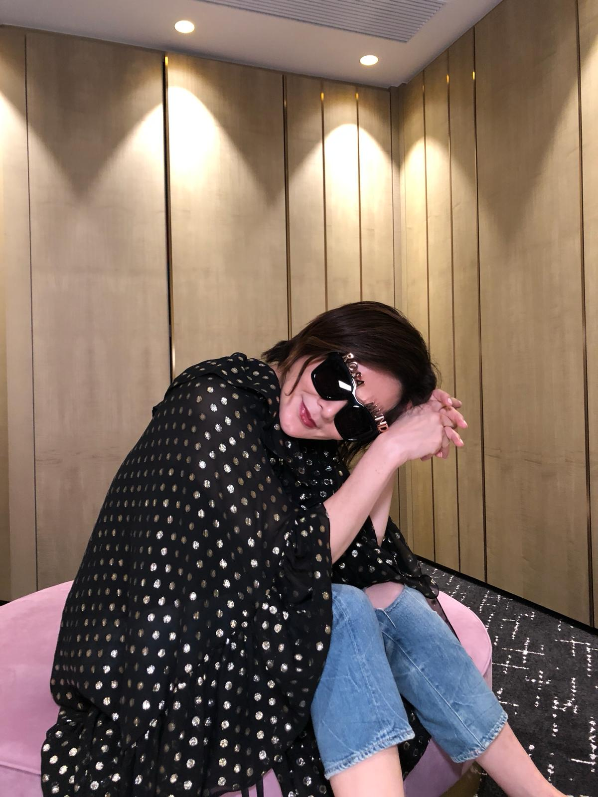 Rosamund Kwan 關芝琳 wears REVE by RENE alphabet sunglasses