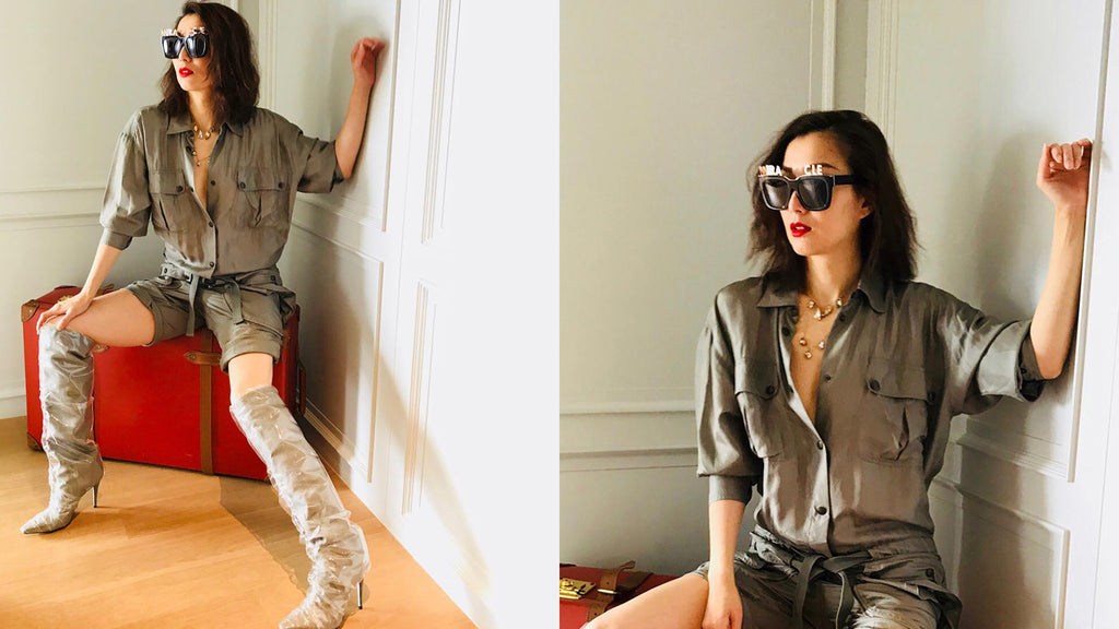 Sammi 鄭秀文 wears REVÉ by RENÉ Alphabet Bar Sunglasses and Gold Plated Letters.