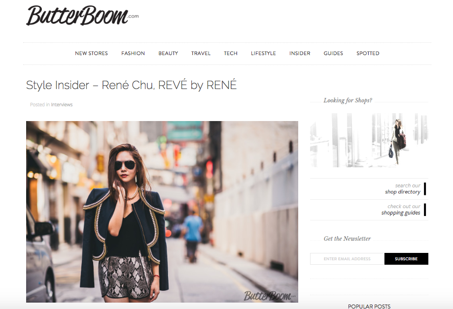 Butterboom features style insider Rene Chu