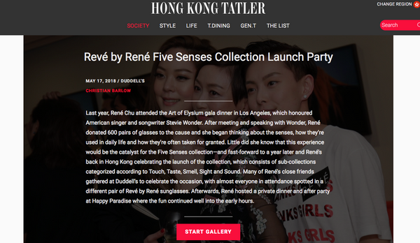 REVE Hong Kong event featured in Tatler