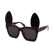 Hey Hunny | Oversize unisex sunglasses with customisable ALPHABET BAR + detachable EARS decoration | Classic black sunglasses with mirrored lenses