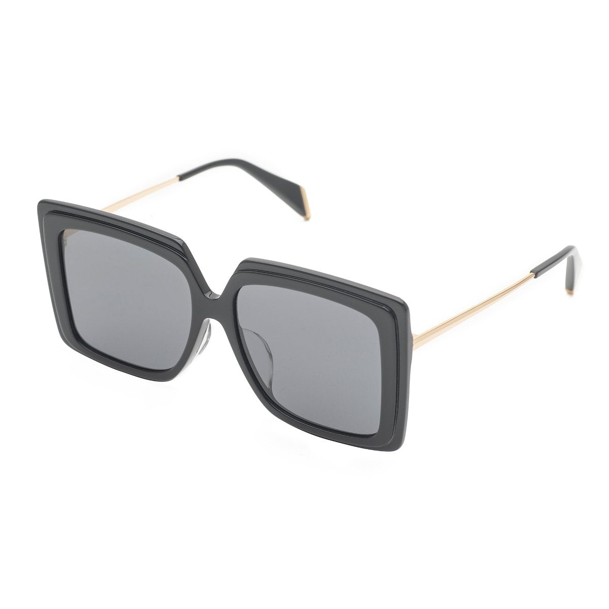 Couldn't Care Less | Shiny Black Oversize Square sunglasses | Boyish | REVÉ by RENÉ