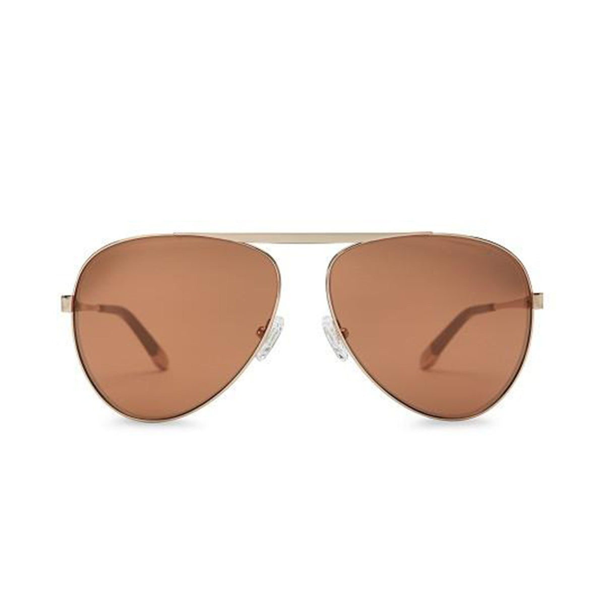 WISH YOU WERE HERE | CHAMPAGNE TAN aviator sunglasses with mirrored lenses