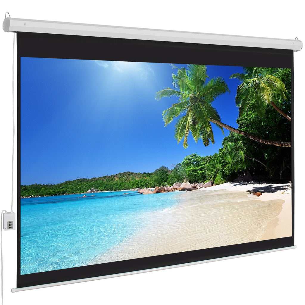 100in HD 4:3 Display Electric Projection Screen w/ Remote - White