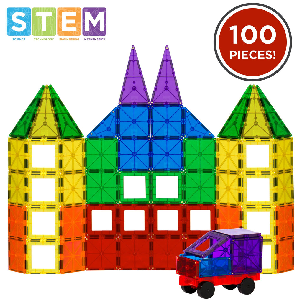 100-Piece Kids Clear Rainbow Magnetic Building Block Tiles Toy Set - Multi