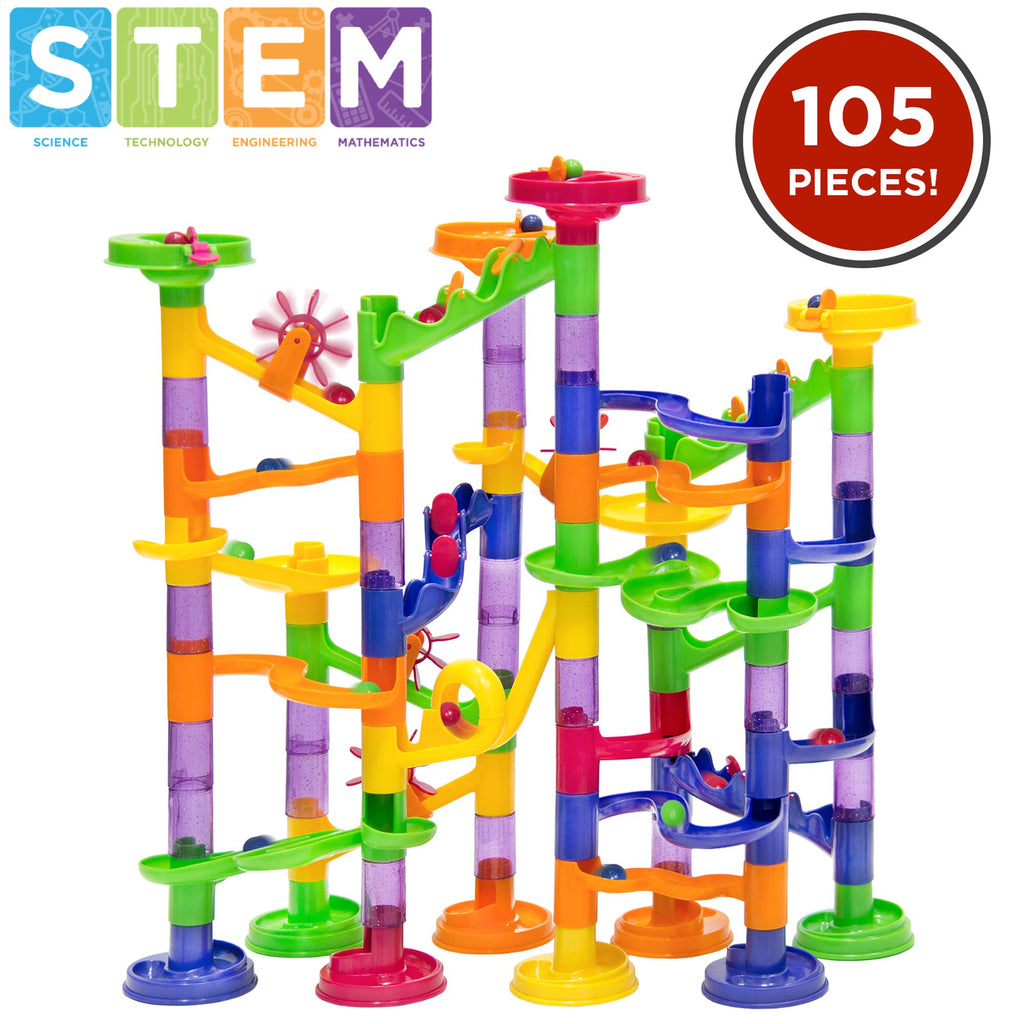 105-Piece Kids STEM Marble Run Coaster Track Toy Set