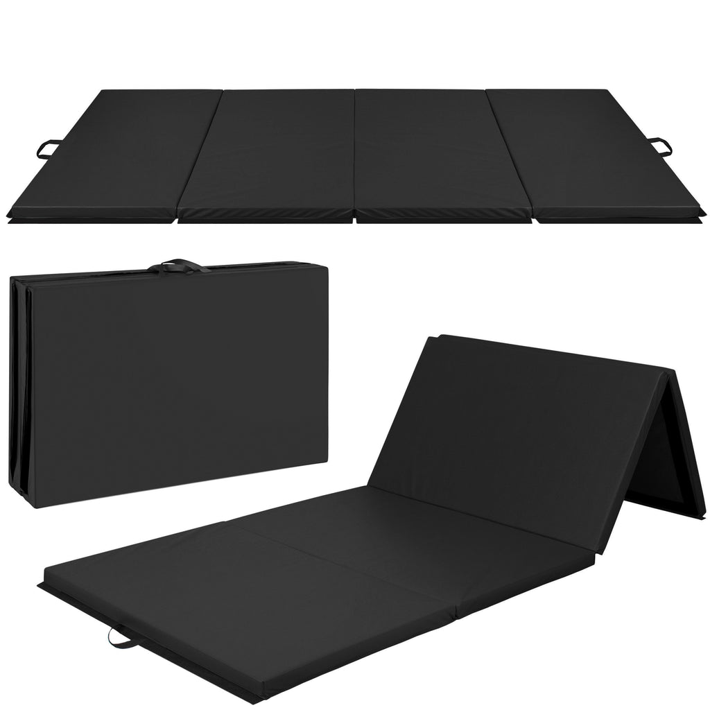 10ft 4-Panel Folding Foam Gym Exercise Floor Mat w/ Carrying Handles