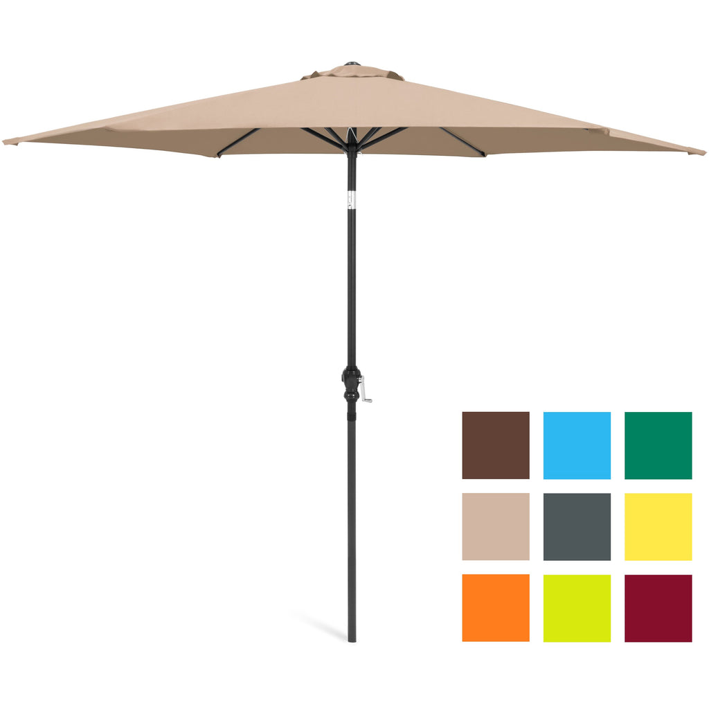 10ft Outdoor Steel Market Patio Umbrella Decoration w/ Tilt, Crank