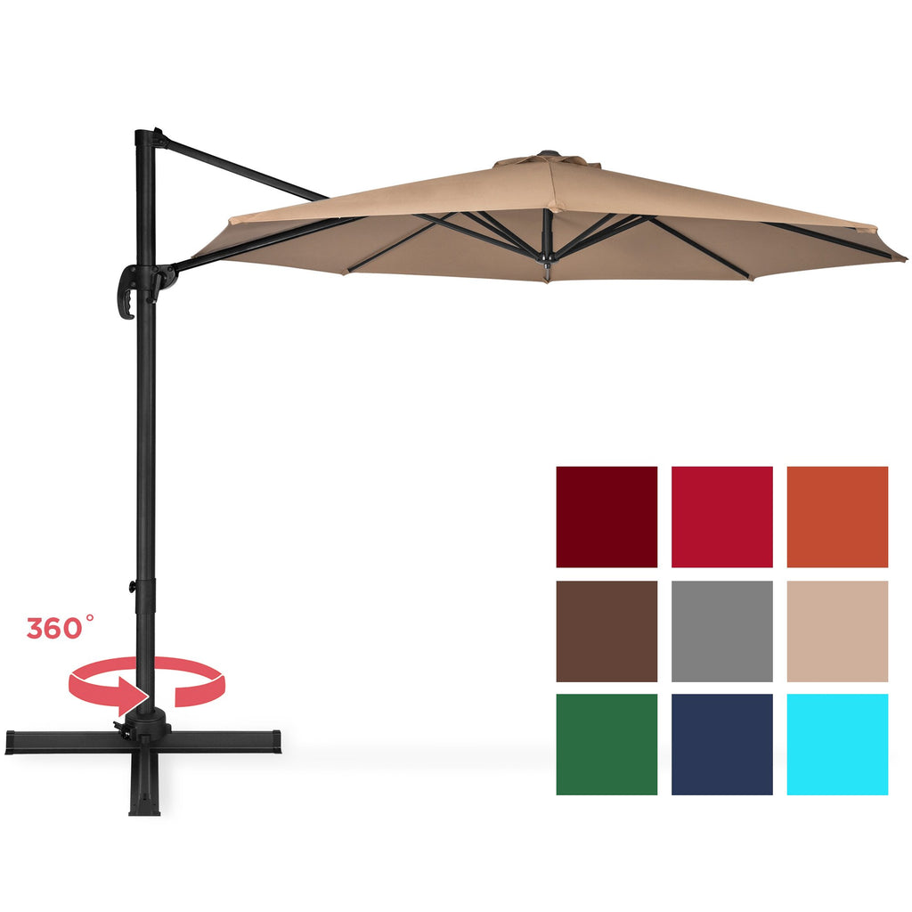 10ft 360 Degree Rotating Cantilever Offset Patio Umbrella w/ Tilt
