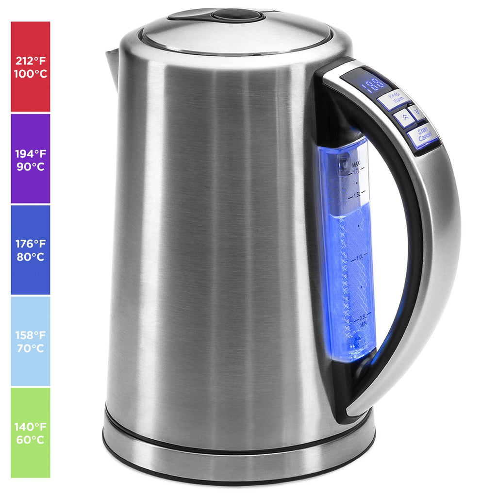 1.7L 1500W Stainless Steel Electric Kettle W/ LED Display, Auto Shutoff