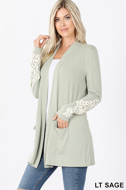 Lace Patch Slouchy Pocket Cardigan
