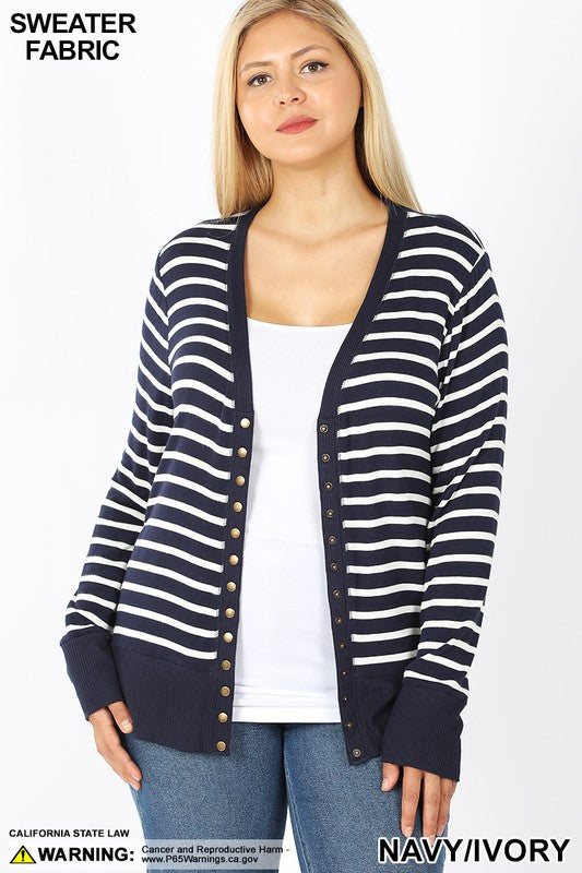 Striped Snap Button Sweater Cardigan