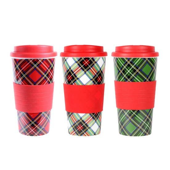 Plaid Travel Tumbler with Silicone Grip