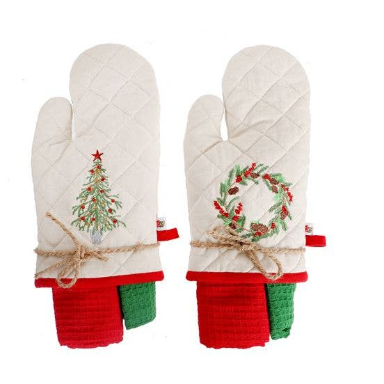 Embroidered Oven Mitt with 2 Dishtowel Gift Set