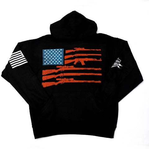 2nd Amendment American Flag Black Hooded Sweatshirt