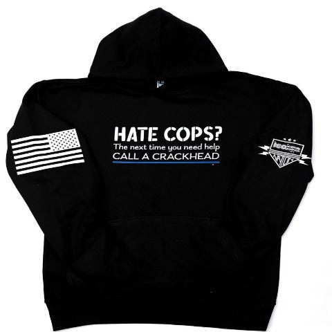 Hate Cops ??? Black Hooded Sweatshirt