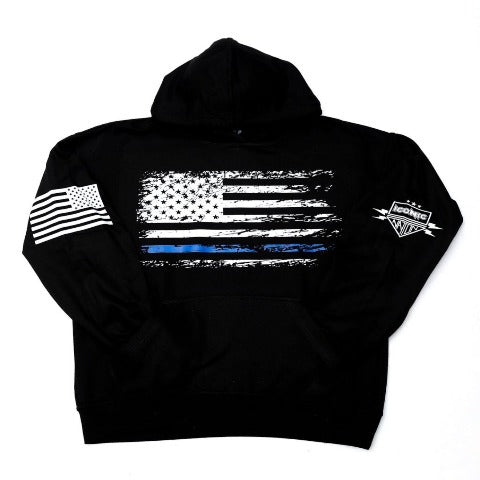 Destressed Blue Line Flag Hoodie